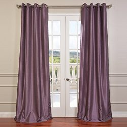 Half Price Drapes PDCH-KBS11-108-GRBO Grommet Blackout Vintage Textured Faux Dupioni Silk Curtai ...