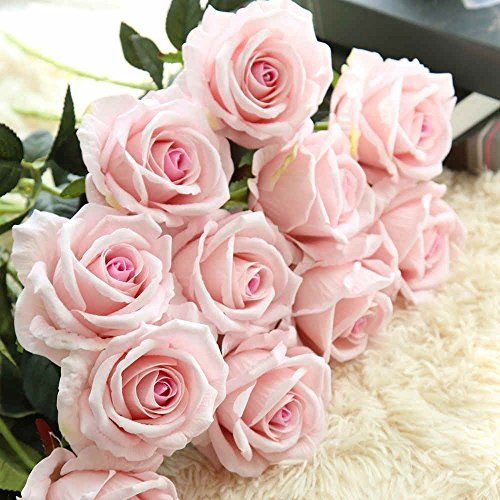 Artificial Flowers,Fake Flowers Bouquet Silk Roses Real Touch Bridal Wedding Bouquet for Home Ga ...