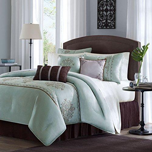 Madison Park Brussel Cal King Size Bed Comforter Set Bed In A Bag – Seafoam Aqua, Embroide ...