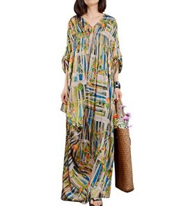 YESNO JN6 Women Long Maxi Colorful Floral Baggy Dress 100% Silk Gathered Bust Roll-up Sleeve Boh ...