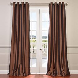 Half Price Drapes PTCH-BO209-120-GR Grommet Blackout Faux Silk Taffeta Curtain, Copper Brown