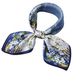100% Real Mulberry Silk 21″ Women's Square Scarfs Scarves Dark Pastel Blue Pear Blos ...