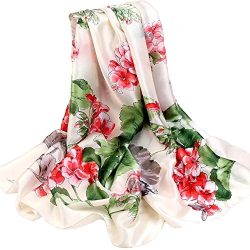 Silk Scarf Large Satin Headscarf Fashion Flower Wrap Shawl Scarves for Women Beige