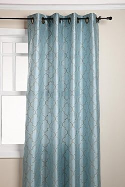 Stylemaster Hudson 55 by 84-Inch Embroidered Faux Silk Brass Grommet Panel, Spa