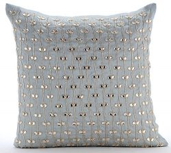 Designer Light Blue Decorative Pillows Cover, Crystals Leaf Tropical Theme Pillows Cover, 20&#82 ...