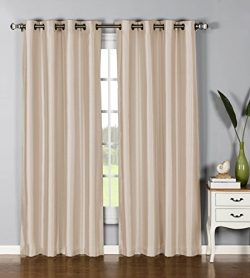 Window Elements Jane Faux Silk Grommet Extra Wide 54 x 84 in. Curtain Panel, Taupe