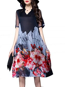 Honwenle Women's Vintage Round Neck Half Sleeve Side Slit Floral Hollow Out Silk Dress
