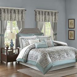 Madison Park Essentials Brystol King Size Bed Comforter Set Room In A Bag – Teal, Grey, Ja ...