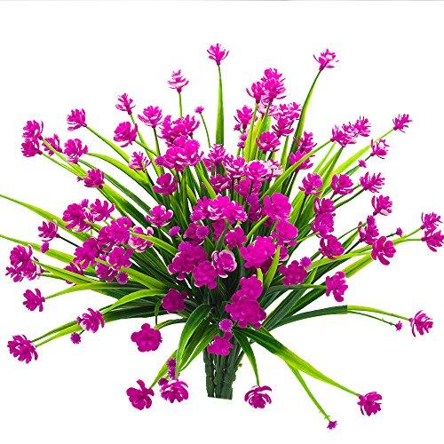 Artificial Fake Flowers, 4 Bundles Outdoor UV Resistant Greenery ...