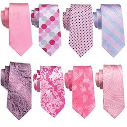 Barry.Wang Pink Ties Set Dots Neckties Floral Necktie Check Tie Wedding Party Business