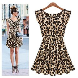 Tinksky Women Sexy Slim Fit Leopard Print Short Dress – Size L