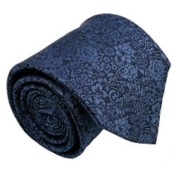 Qobod Classic Men's 100% Silk Tie Necktie Woven JACQUARD Neck Ties gift box navy blue sky  ...