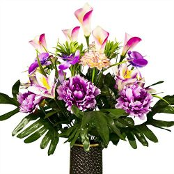 Ruby's Silk Flowers Lavender Purple Peony Lily and Orchid Artificial Bouquet, featuring th ...