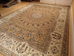 Stunning Silk Persian Rug Gold 8×12 Living Room Gold Carpet Luxury Rug Traditional Rug For  ...