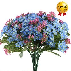 Nahuaa 4PCS Artificial Dasiy Flower with Silk Green Leaves Fake Plastic Bouquets Fuax Floral Tab ...