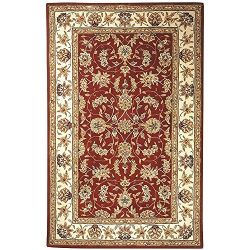 Safavieh Traditions Collection TD602D Handmade Burgundy and Ivory Wool Area Rug (5′ x 8 ...