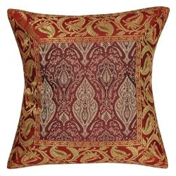Lalhaveli Designer Silk Single Cushion Cover Maroon Color 16 x 16 Inch