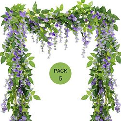 Supla 5 Pcs 33Ft 35 Flowers Purple Wisteria Vine Artificial Silk Wisteria Garland Hanging Silk F ...