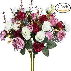 Hibery 7 Branch 21 Heads Artificial Fake Flowers Silk Rose Bouquet Wedding Home Office Floral De ...