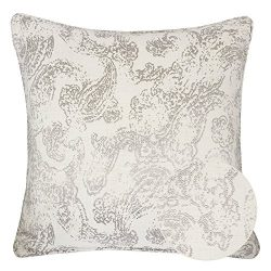 Homey Cozy Jacquard Cotton Throw Pillow Cover,Cream Gray Paisley Floral Retro Silk Woven Texture ...
