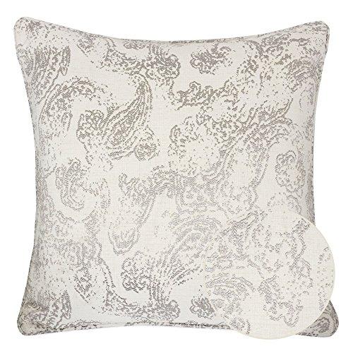 Homey Cozy Jacquard Cotton Throw Pillow Cover,Cream Gray Paisley Floral Retro Silk Woven Texture ...
