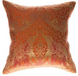 Avarada 16×16 Inch (40×40 cm) India Elephant Decorative Throw Pillow Covers Case Cushi ...