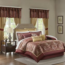 Madison Park Essentials Brystol Cal King Size Bed Comforter Set Room In A Bag – Red, Gold, ...