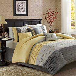 Madison Park Serene King Size Bed Comforter Set Bed In A Bag – Yellow, Embroidered – 7 Pie ...