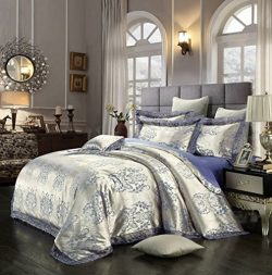 Alibasis Satin Jacquard Silk Bedding Luxury Bedding Sets 4-Piece Classical European Style Silk D ...