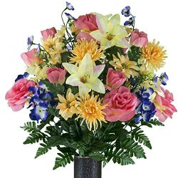 Ruby's Silk Flowers Salmon Rose Yellow Stargazer and Purple Pansy Mix Artificial Bouquet,  ...