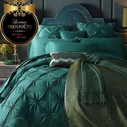 ON SALE Vintage Green Luxury Bedding Set Queen Silk Cotton Solid Duvet Cover Set European Style  ...