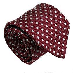 Qobod Classic Men's 100% Silk Tie Necktie Woven JACQUARD Neck Ties gift box burgundy white dot