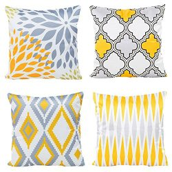 WOMHOPE 4 Pack – 17″ Geometric Faux Silk Pillow Cover Satin Square Throw Pillow Cove ...