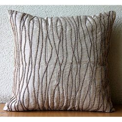 Luxury Beige Decorative Pillows Cover, Jute Cord Throw Pillows Cover, 20″x20″ Pillow ...