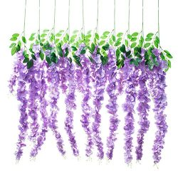 "Huata 10PCS 38"" Artificial Silk Wisteria Vine Ratta Hanging Flower For DIY Wedding Receptions,Ga ..."