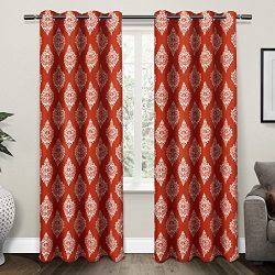 Exclusive Home Curtains Medallion Thermal Blackout Grommet Top Window Curtain Panel Pair, Mecca  ...