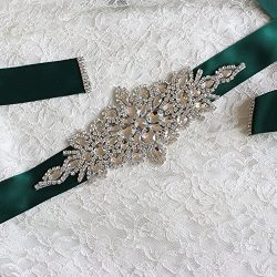Women's Formal Mother of the Bride Groom Dresses Belt with Silk Ribbon,Hunter Green