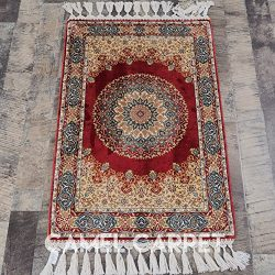 Camel Carpet 2'x3′ Traditional Turkish Silk Carpet Small Hand Woven Bedroom Rugs