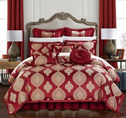 Chic Home Cipriana 9 Piece Comforter Set Jacquard Scroll Faux Silk Bedding with Pleated Flange & ...