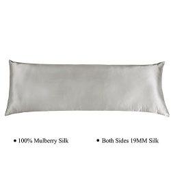 Cozysilk Silk Body Pillowcase with Zipper, 100% Silk on Both Sides, Zippered Silk Body Pillow Co ...