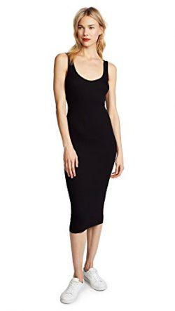 Enza Costa Women's Stretch Silk Rib Tank Midi Dress, Black, XS
