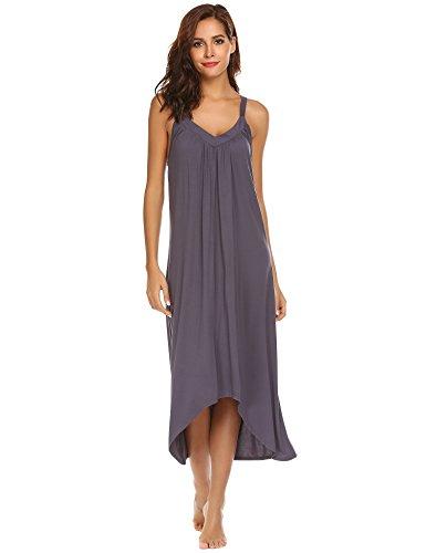 45116872be Ekouaer Womens Sleeveless Long Nightgown Summer Slip Night Dress Cotton  Sleepshirt Chemise