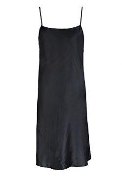 J&E LOHAS Women's Sexy Black Chemise Solid 100% Silk Nightgown Slip Dress Black M