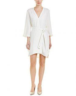 Halston Heritage Womens Silk-Blend Shift Dress, S, White
