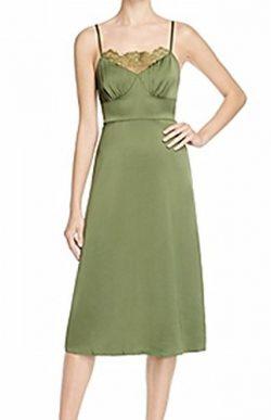 Tracy Reese Women Medium Lace-Detail Sheath Dress Silk Green M