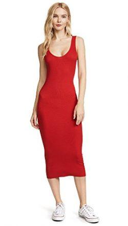 Enza Costa Women's Stretch Silk Rib Tank Midi Dress, Iconic Red, S