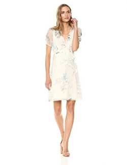 ASTR the label Women's Melody Short Sleeve V Neck Mini Dress, Cream Blush Floral, Extra Small