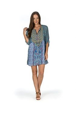 Tolani Women's Elora Lagoon Blue Multi Silk Tunic Dress Small