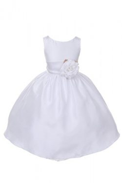 Dempsey Marie Poly Silk Flower Girl Dress With colorful Sash – WH/White – 4