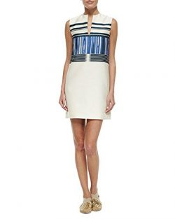 Tory Burch Mikado Plaited Stripe Cream Blue Sheath Dress 8